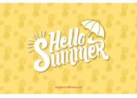 你好带菠萝图案的夏日背景_2141704