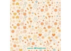 儿童涂鸦和花卉图案_724495