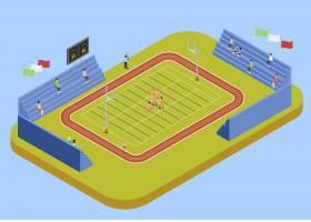 大学体育综合体体育场等轴测插图_4016588