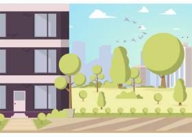 公园地区的矢量插图卡通建筑_3941664