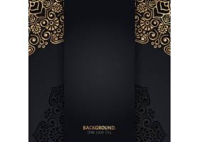 伊斯兰黑色背景金色几何曼陀罗圆圈_13061346