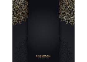 伊斯兰黑色背景金色几何曼陀罗圆圈_13061358