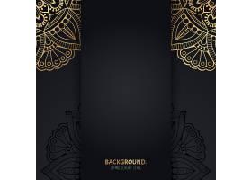 伊斯兰黑色背景金色几何曼陀罗圆圈_13061376