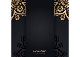 伊斯兰黑色背景金色几何曼陀罗圆圈_13061406