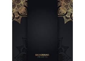 伊斯兰黑色背景金色几何曼陀罗圆圈_13061427