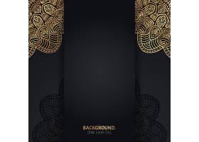 伊斯兰黑色背景金色几何曼陀罗圆圈_13061437