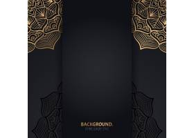 伊斯兰黑色背景金色几何曼陀罗圆圈_13062039