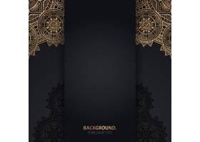 伊斯兰黑色背景金色几何曼陀罗圆圈_13062056