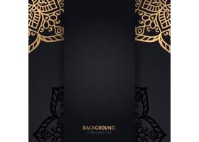 伊斯兰黑色背景金色几何曼陀罗圆圈_13062066
