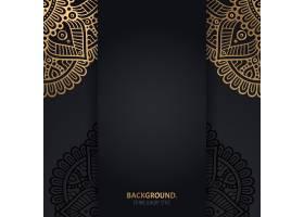 伊斯兰黑色背景金色几何曼陀罗圆圈_13062089