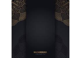 伊斯兰黑色背景金色几何曼陀罗圆圈_13062122