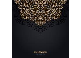 伊斯兰黑色背景金色曼陀罗装饰_13025221