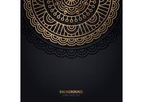 伊斯兰黑色背景金色曼陀罗装饰_13025234