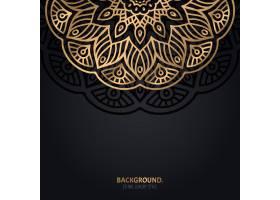 伊斯兰黑色背景金色曼陀罗装饰_13025241