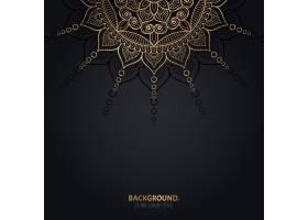 伊斯兰黑色背景金色曼陀罗装饰_13025263