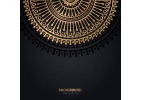 伊斯兰黑色背景金色曼陀罗装饰_13025273
