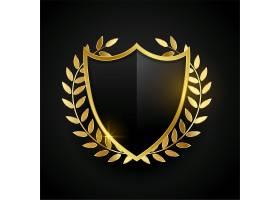 带有金叶的金色徽章或盾牌_12970389