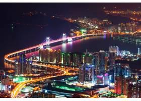 韩国釜山夜间的关干桥和海云台_11599520