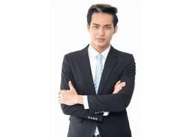 成功的雄心勃勃的亚洲商人西装革履_1305705