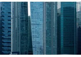 新加坡中央商务区复盖着蓝色窗户的现代摩天_10759406