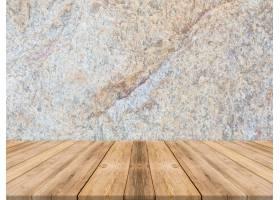 空置的热带木质桌面深色石墙_1382371