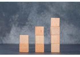 商业图表和就业概念以木块为图表侧视图_10183596