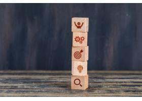 商业战略概念木质立方体在木质和垃圾背景_9177693