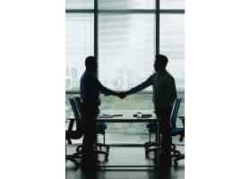 两位商界人士握手庆祝双赢交易的轮廓_5699235
