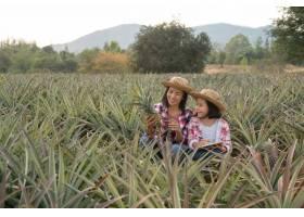 亚洲农民让母女两人在农场看到菠萝的生长_13013457