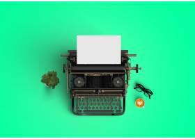 绿色背景的打字机_999806