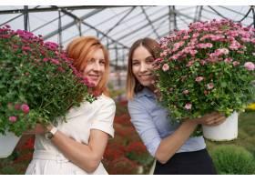 肖像画两位可爱的女士与一束粉色的菊花在一_11177665