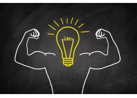 黄色灯泡带有肌肉发达的手臂_973542