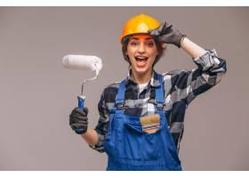 画卷隔离的修理工妇女肖像_4410817