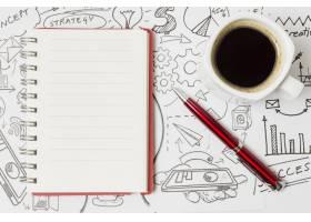纸面上的顶景咖啡上面全是涂鸦_4387875