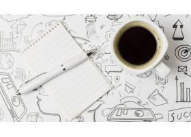 纸面上的顶景咖啡上面全是涂鸦_4387876