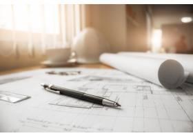 工程对象在工作场所俯视图上的图像建筑概_1239495