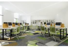 带书架的写字楼绿色商务会议和工作间_10332628