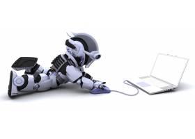 带有笔记本电脑和计算机鼠标的机器人_958157