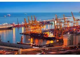 夜晚的巴塞罗那港口_1491287