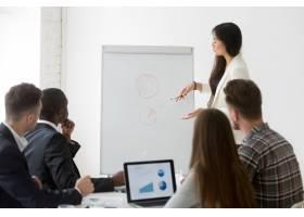 女商人在商务培训中介绍市场研究成果_3939770
