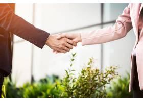 商务女性和商人在阳光下友好握手的特写镜头_1203148