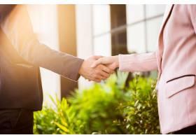 商务女性和商人在阳光下友好握手的特写镜头_1203150