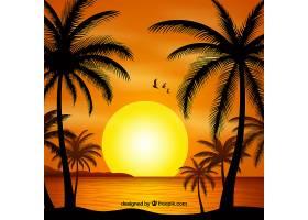 夏日的背景夕阳和棕榈树的剪影_2345768