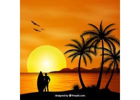 夏日的背景夕阳和棕榈树的剪影_2345769