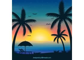 夏日的背景日落和棕榈树_2347474