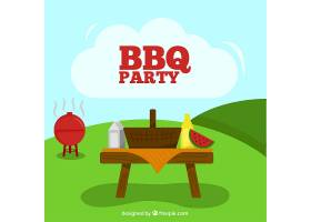 夏日背景下的烧烤派对_888025