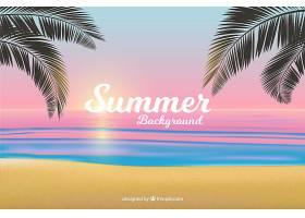 夏日背景与逼真的日落_2306167