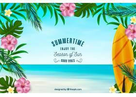 夏日背景冲浪板和鲜花_2306165