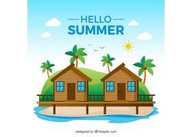 夏日背景平坦风格的海滩景观_2147395