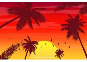 夏日背景棕榈树剪影_2232718